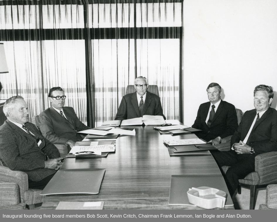 Inaugural founding five board members Bob Scott, Kevin Critch, Chairman Frank Lemmon, Ian Bogle and Alan Dutton.